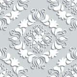 Victorian seamless pattern. Damascus seamless pattern of floral ornament. 3D elements with shadows paper cut Stock Photography
