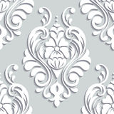 Victorian seamless pattern. Damascus seamless pattern of floral ornament. 3D elements with shadows paper cut Stock Photos