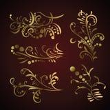 Victorian set of golden ornate page decor elements royalty free illustration