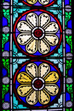 Victorian stained glass. Old Victorian stained glass windows Stock Photo
