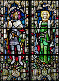 Victorian stained glass church window in St Michael's Mount castle depicting personifications of Victory and Peace, Cornwall Stock Photography