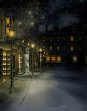 Victorian street 2. Winter scenery with a Victorian street at night