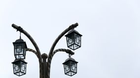 Victorian street lamps on white background stock photo