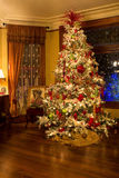 Victorian style Christmas tree. Christmas tree in the Victorian Belle (build in 1885), Portland, Oregon royalty free stock photography