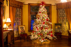 Victorian style Christmas tree. Christmas tree in the Victorian Belle (build in 1885), Portland, Oregon royalty free stock photos