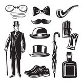 Victorian style monochrome illustrations for gentleman club. Vector pictures set stock illustration