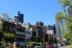 Victorian style residential homes and modern skyscrapers in Melbourne, Australia Royalty Free Stock Images