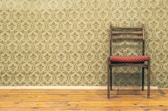 Victorian style vintage pattern wallpaper. Ornamental background and chair. Pastel tones stock image