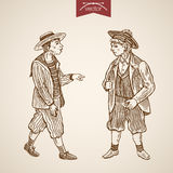 Victorian style young boy wearing clothes engraving retro vector Royalty Free Stock Photos