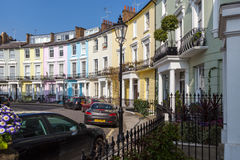 Victorian terraced houses neatly painted in pastel colours Royalty Free Stock Photos