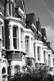 Victorian terraced town houses. Black and white monochrome photograph of Victorian terraced town houses in London, England, UK Stock Photo