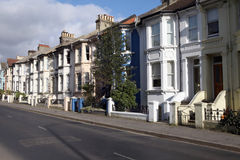Victorian terraces england. Victorian terraces in england. street with english houses or homes Royalty Free Stock Photo