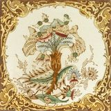 Victorian tile. Victorian period decorative arts printed floral spray and acanthus border tile Royalty Free Stock Photo