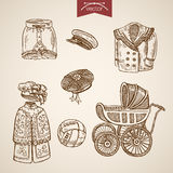 Victorian traditional children clothes engraving vintage vector Stock Photography
