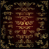 Victorian vector set of golden ornate page decor elements like banners. Frames, dividers, ornaments and patterns on dark background. Gold calligraphic swirl Stock Photography