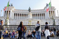 THE VICTORIAN, VITTORIO EMANUELE MONUMENT,VENICE PLAZA, ROME`S HISTORIC CENTER, ITALY. Royalty Free Stock Image