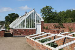 Victorian walled garden and greenhouse Royalty Free Stock Photography