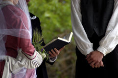 Victorian wedding. A victorian-style wedding as the vows are read Royalty Free Stock Images