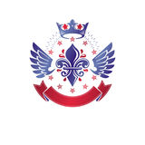 Victorian winged emblem composed using lily flower, monarch crow Royalty Free Stock Image