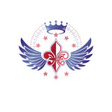 Victorian winged emblem composed using lily flower, monarch crow Royalty Free Stock Photos