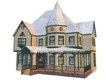 Victorian winter house. 3D rendered Victorian winter house isolated on white background Royalty Free Stock Photography