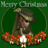 Victorian Woman Merry Christmas Background Royalty Free Stock Photo