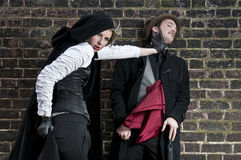 VIctorian woman strangling man Royalty Free Stock Photography
