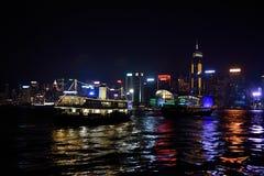 Victorias Hahours natt i Hong Kong fotografering för bildbyråer