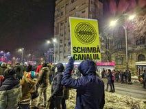 Victoriei piata τον Ιανουάριο του 2017 διαμαρτυρίας του Βουκουρεστι'ου Στοκ φωτογραφία με δικαίωμα ελεύθερης χρήσης