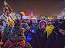 Victoriei piata τον Ιανουάριο του 2017 διαμαρτυρίας του Βουκουρεστι'ου Στοκ Εικόνες