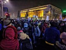 Victoriei piata τον Ιανουάριο του 2017 διαμαρτυρίας του Βουκουρεστι'ου Στοκ Εικόνα