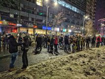 Victoriei piata τον Ιανουάριο του 2017 διαμαρτυρίας του Βουκουρεστι'ου Στοκ Φωτογραφίες