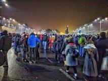 Victoriei piata τον Ιανουάριο του 2017 διαμαρτυρίας του Βουκουρεστι'ου Στοκ εικόνα με δικαίωμα ελεύθερης χρήσης