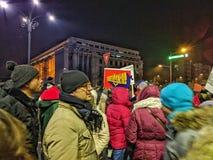 Victoriei piata января 2017 протеста Бухареста Стоковые Изображения
