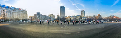 Victoriei Square,  Romania protest, day 4 Royalty Free Stock Photo