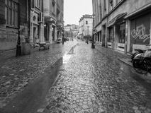Victoriei Street in rainy day Stock Images