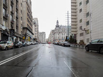 Victoriei Street in rainy day Stock Image