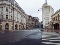 Victoriei Street in rainy day Stock Photo
