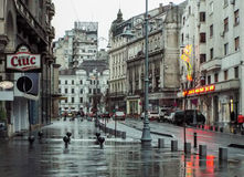 Victoriei Street in rainy day Stock Photos