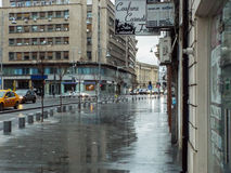 Victoriei Street in rainy day Royalty Free Stock Images