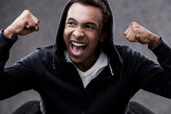 Victorious African American man portrait Stock Photo