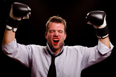 Victorious boxing businessman Stock Photography