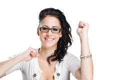 Victorious brunette. Royalty Free Stock Image