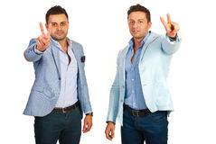 Victorious business men Royalty Free Stock Image