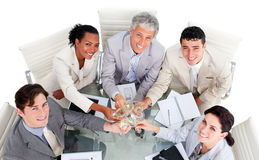 Victorious business team celebrating a success Royalty Free Stock Images
