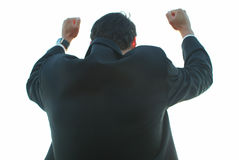Victorious businessman. Man in suit with hands in air giving winning gesture royalty free stock images