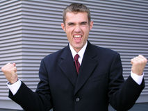 Victorious Businessman. Outdoors Stock Photography