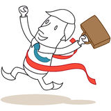 Victorious businessman crossing finishing line Royalty Free Stock Photography