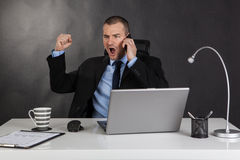Victorious businessman in office Royalty Free Stock Photos
