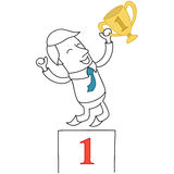Victorious businessman on podium. Vector illustration of a monochrome cartoon character: Victorious businessman with cup jumping on podium Royalty Free Stock Photos